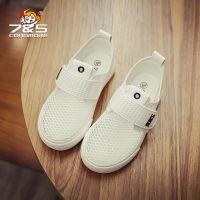 75儿童小白鞋女童韩版潮百搭男童运动鞋镂空板鞋2018夏季新款网鞋