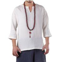 2018春季男士棉麻T恤纯色简约中国风男装原创设计改良汉服衬衣男#229接单来样生产