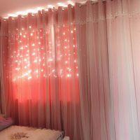 星星韩式窗帘公主风网红ins飘窗窗帘落地窗简约卧室遮光粉色成品