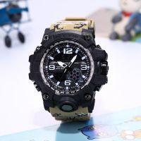 厂家直销男士时尚迷彩双机芯运动登山防水夜光计时手表学生电子表
