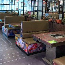 玉溪火锅店家具订制,特色主题卡座沙发桌子组合