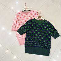 2018夏季新款女装圆领短袖T恤拼色提花萤火虫图案曲珠冰丝针织衫