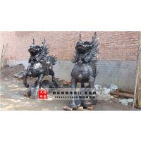 一对铜麒麟雕塑-宁夏铜麒麟雕塑-文禄雕塑