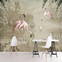 现代简约手绘山水无缝壁画水彩植物火烈鸟无纺布壁纸北欧立体墙纸