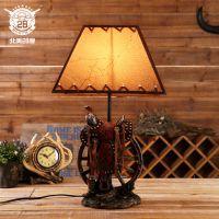 美式马鞍装饰灯 酒吧咖啡厅床头灯创意室内灯具 小夜灯礼品台灯