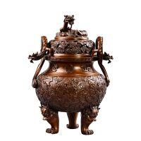 带底螭龙耳云福纹炉线香盘香家用室内薰香炉檀香炉铜殿
