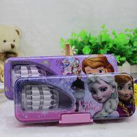 正版 冰雪奇缘ELSA安娜公主卡通双层文具盒铁笔盒 带笔插塑胶锁