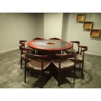现代中式圆桌重庆老火锅实木大理石桌椅