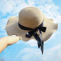 海边防晒草帽可折叠沙滩帽女大沿帽遮阳帽 海滩度假旅游太阳帽子