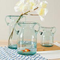 手工吹制气泡双耳透明玻璃花瓶地中海家居水培花器摆饰批发