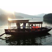 海南贵州6米木质电动船 旅游景点码头 画舫房船 手划仿古摇橹木船