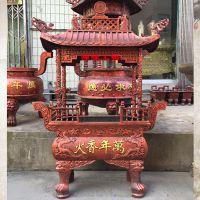 供应铸铁长方形四龙柱香炉 广西白色寺庙道观祠堂香炉设计