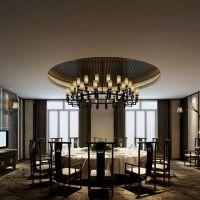 森美源定制新中式实木餐桌椅组合简约现代酒店餐厅饭店包厢餐饮大圆桌家具