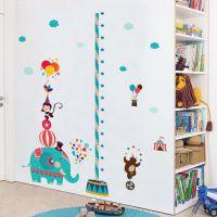 儿童房身高贴卡通动物马戏团贴纸宝宝卧室测量身高墙贴自粘可移除