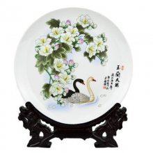 乡村手绘玫瑰陶瓷装饰盘 复古家居简约摆盘 客厅软装饰品摆件