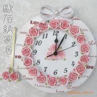 欧佰纳家居饰品 创意钟表 树脂工艺品厂 田园玫瑰超静音挂钟批发