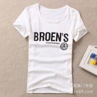 2016夏装t恤女式字母图案短袖 少女学生圆领半袖