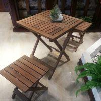折叠圆桌客厅简约实木方桌家用小户型组合餐桌椅阳台下午茶小桌子