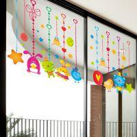 jsh孕婴店玻璃门贴画卡通动物贴纸幼儿园教室窗户吊饰装饰品墙贴