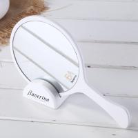 热销便携式纹绣木质化妆手持镜女生时尚圆形手柄高清镜子订制