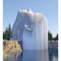 大型不锈钢人物头像雕塑 水景镂空雕塑定制工厂