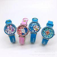 哆啦a梦儿童皮革手表男女孩叮铛猫手腕表
