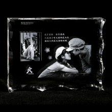 情侣合照水晶相册摆台定做,纪念日水晶礼品,男友生日礼物,可带发光底座