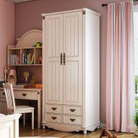 儿童卧室2门衣柜美式家具白色板式双门收纳柜储藏柜平开拉门衣橱