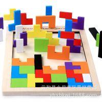 批发俄罗斯方块之谜游戏 宝宝益智DIY立体木制拼图 亲子互动积木