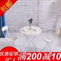 简易折叠便携正方形餐桌摆摊家用吃饭桌子小圆桌阳台洽谈圆桌