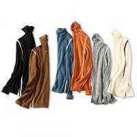 18秋冬新品 人手N件 气质条纹拼色 高领修身显瘦羊毛针织打底衫女