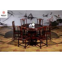 实木简约现代餐桌,黑酸枝木,红木家具厂家直销,明式圆台,东阳红木