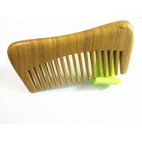 厂家绿檀木梳子刻字 宽齿卷发梳子 按摩防静电生发 玉檀香木梳子