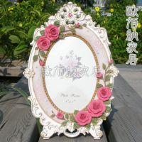 7吋小额混批玫瑰田园树脂欧式相框相架像框婚纱影楼结婚商务礼品