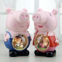 新款美式乡村可爱猪微景观摆件 星星灯礼物气氛场景装饰小夜灯