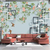 5D大型壁画电视背景墙壁画客厅无纺布立体高清现代简约新手绘花鸟