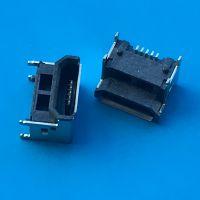 加高3.02 MICRO母座/垫高型/四脚插板SMT贴片式/5PIN USB/带定位柱无卷边
