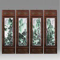 景德镇名家手绘四幅粉彩春夏秋冬 梅兰竹菊陶瓷瓷板画