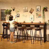 复古吧台椅子高脚凳子休闲奶茶咖啡店酒吧台靠墙家用吧台桌椅铁艺