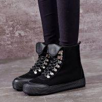 名将 2017新款真牛皮保暖皮靴韩版潮鞋休闲加绒时尚系带皮靴0557