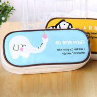 0217韩国可爱pu皮创意大容量笔袋简约男女学生卡通动物笔袋