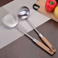 实木防烫手柄不锈钢厨具加厚中式锅铲炒菜铲子家用圆粥勺汤勺