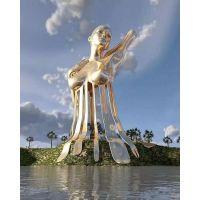 厂家制作不锈钢人物雕塑 表面电镀效果人物雕塑图