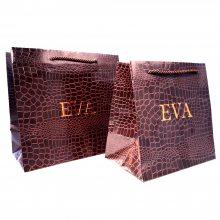 定制特种纸袋 鳄鱼纹皮革手提纸袋 UV烫金高档购物礼品袋