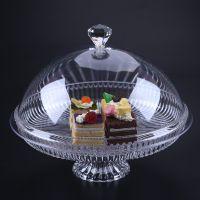 创意PC亚克力透明水果盘带盖 圆形试吃盘 蛋糕盘 塑料果盘 点心架