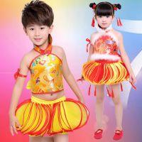 儿童民族秧歌喜庆表演服中国风红灯笼演出服六一肚兜灯笼裤舞蹈服