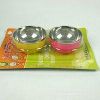 不锈钢两个彩色碗套装餐具儿童用品地摊赶集热卖十元活动礼品货源
