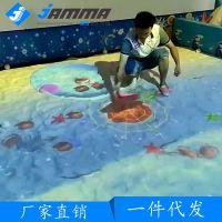儿童淘气堡3D互动投影沙滩捞鱼地面投影游戏设备走廊互动游乐设施