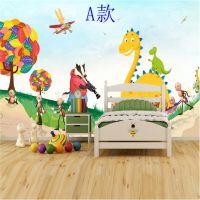 清新田园风无缝壁纸3D立体定制壁画卡通动物儿童房背景墙墙布厂销