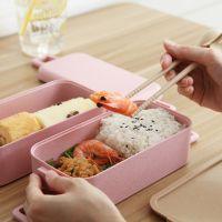 小麦秸秆饭盒 日式餐具便当盒微波炉学生层餐盒寿司盒双层午餐盒